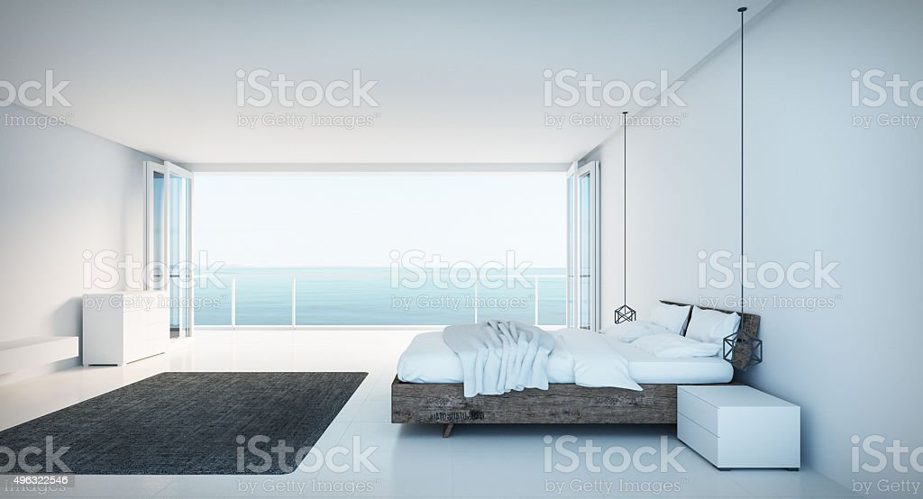 Minimal Bedroom on seaview stock photo