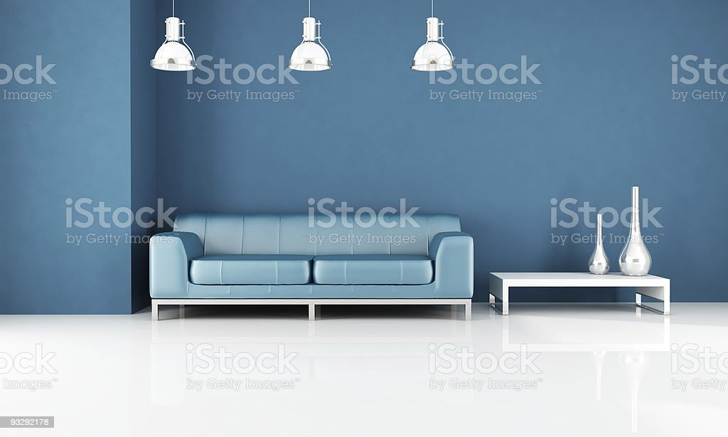 minimal blue living-room royalty-free stock photo