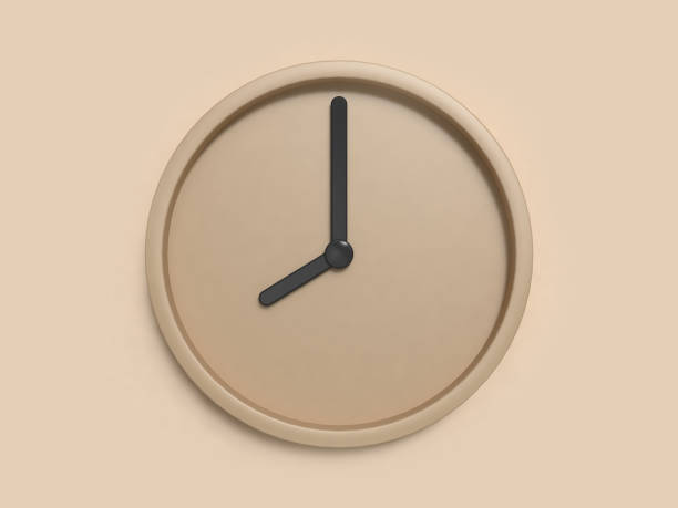 minimal brown clock eight o'clock abstract 3d rendering - clock стоковые фото и изображения