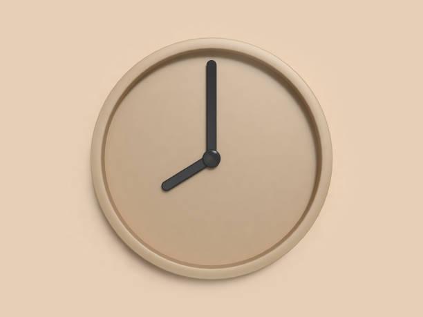render 3d abstracto y minimal reloj marrón 8:00 - wall clock fotografías e imágenes de stock