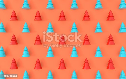 871072052 istock photo Minimal christmas background. Pastel colored symbolic pine tree 3d rendering, simple geometric shapes. Christmas holiday and new year concept 1185745252