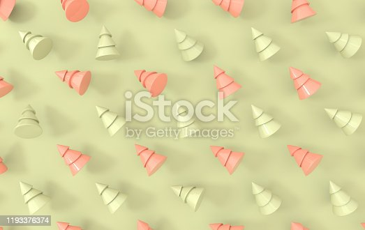 871072052 istock photo Minimal christmas background. Pastel colored symbolic pine tree 3d rendering, simple geometric shapes. Christmas holiday and new year concept 1193376374