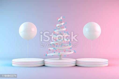 1073585628 istock photo Minimal Christmas Concept, Christmas Tree with Neon Lights 1164842274