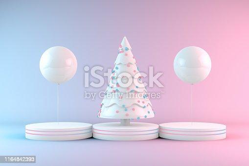 1073585628 istock photo Minimal Christmas Concept, Christmas Tree with Neon Lights 1164842393