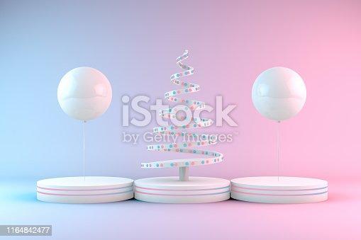 1073585628 istock photo Minimal Christmas Concept, Christmas Tree with Neon Lights 1164842477