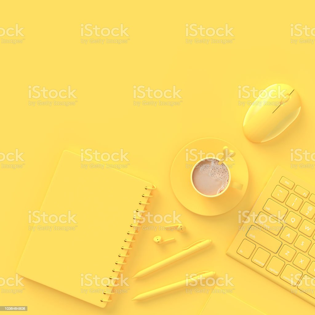 Minimal concept. Coffee milk  in yellow cup stock photo