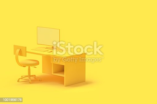 istock Minimal concept, computer on table and chair yellow color 1001956176