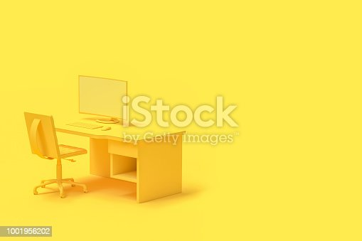 istock Minimal concept, computer on table and chair yellow color 1001956202