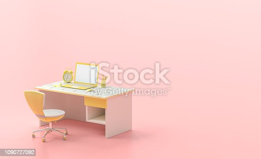 istock Minimal concept, laptop on table and chair yellow color 1090727092