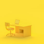 istock Minimal concept, Laptop on table and chair yellow color 974544076