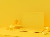 istock Minimal concept, Laptop on table Work desk  yellow color 1034049630