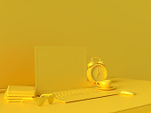 istock Minimal concept, Laptop on table Work desk  yellow color 1034049634