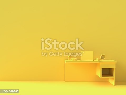 istock Minimal concept, Laptop on table Work desk  yellow color 1034049640