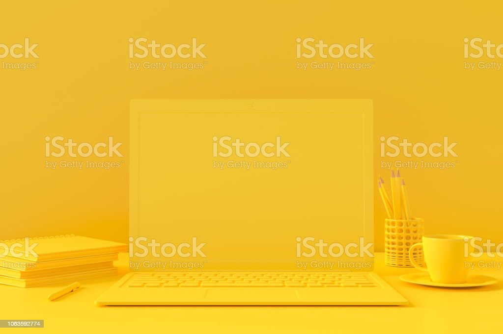 Minimal concept, Laptop on table Work desk yellow color royalty-free stock photo