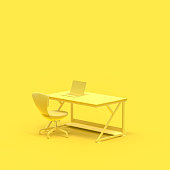 istock Minimal concept, Work desk and Laptop on table 1022012498
