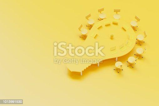 istock minimal concept, Work desk table bulb shape and chair 1013991530