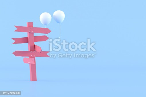 istock Minimal conceptual idea of pink signpost and white balloons on blue background. 3D rendering. 1217585920