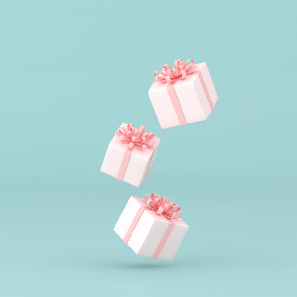 minimal conceptual idea obecnego pola pływające na pastelowym tle. renderowanie 3d - gift zdjęcia i obrazy z banku zdjęć