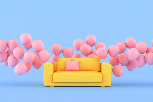 Minimal conceptual idea of yellow sofa surround with pink floating balloons on blue background. 3D rendering.