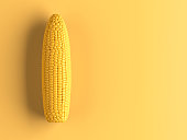 Minimal corn concept painted. Studio shot.