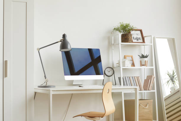 minimal design ideas for home office - estudio imagens e fotografias de stock