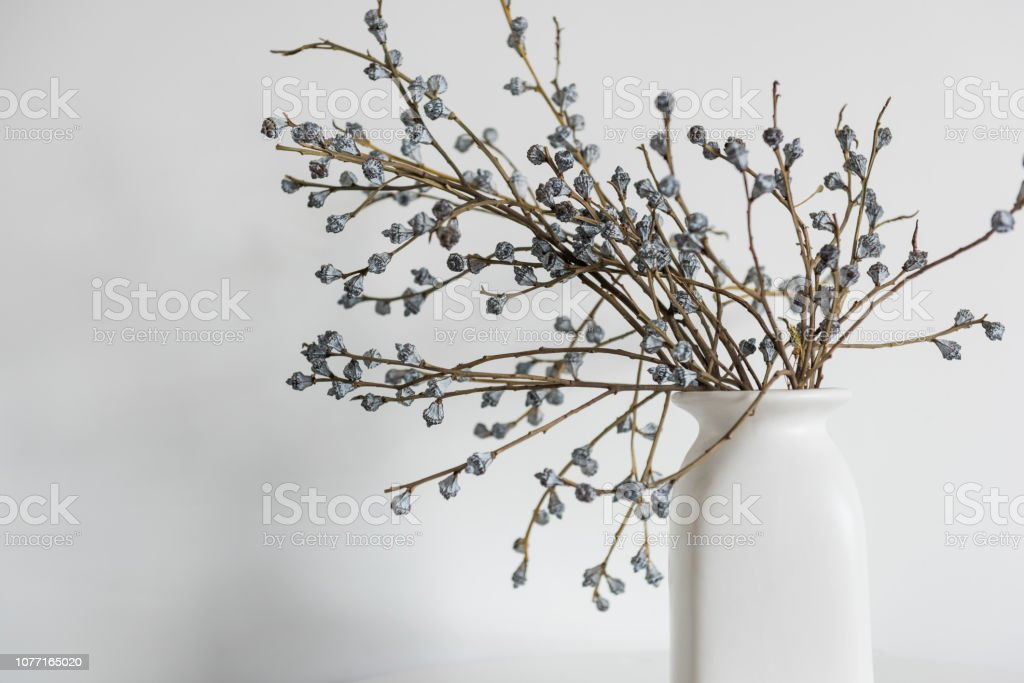 Vase of dried flowers with white wall background.