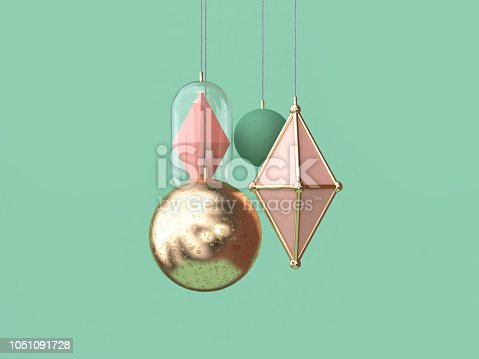 istock minimal gold pink ball hanging christmas decoration concept 3d rendering green background 1051091728