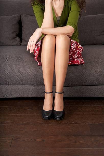 sitting skirt Girl in