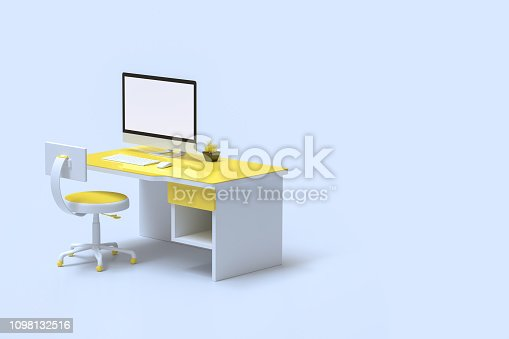 istock Minimal idea concept, computer mock-up on work desk yellow 1098132516