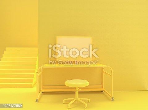 istock minimal idea concept, computer on Work desk wooden table 1127427569