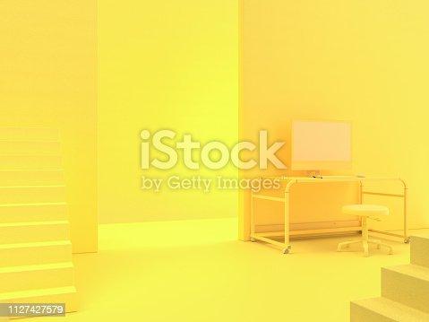 istock minimal idea concept, computer on Work desk wooden table 1127427579