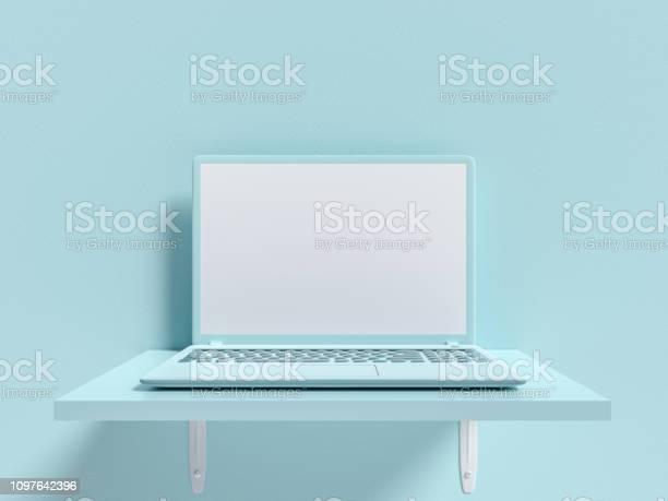 Minimal idea concept laptop mockup on shelf wooden blue picture id1097642396?b=1&k=6&m=1097642396&s=612x612&h=eg xd3 qhrqbidjqqxcdqg1 huphqi7mqx9kutydbtc=