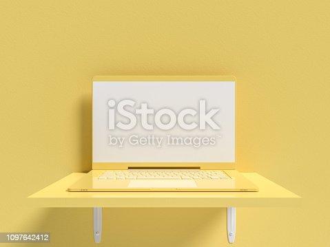 istock Minimal idea concept. Laptop  mock-up on shelf wooden 1097642412