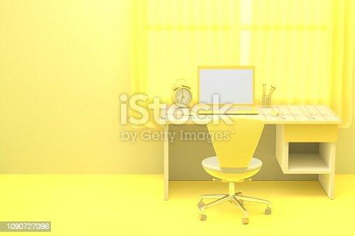 istock minimal idea concept, Laptop  mock-up on Work desk 1090727096