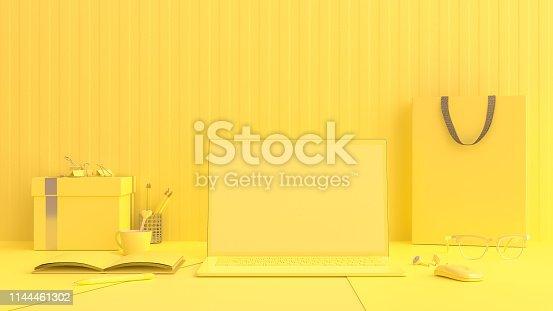 istock Minimal idea concept, Laptop on Work desk table yellow color 1144461302