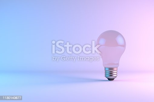 istock Minimal Idea Concept, Light Bulb, Neon gradient colors 1130140677