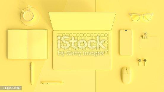 istock Minimal idea concept, work desk yellow color 1144461297