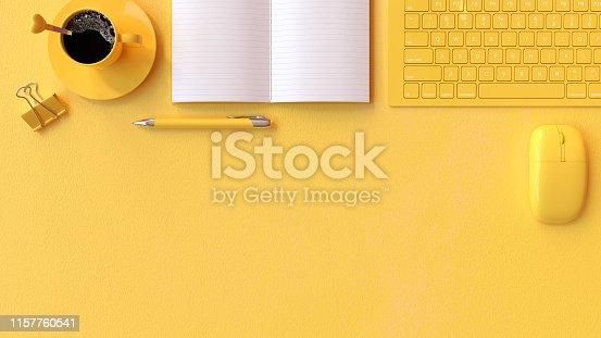 istock Minimal idea concept, work desk yellow color 1157760541