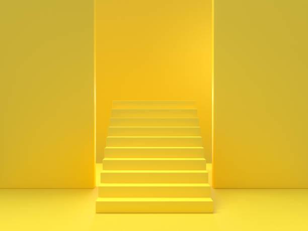 concepto de la mínima idea. escaleras amarillo - amarillo color fotografías e imágenes de stock