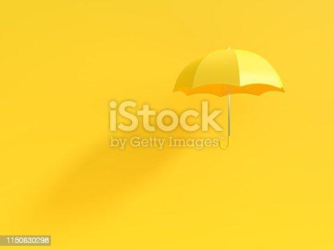istock Minimal idea concept. Yellow umbrella with shadow on yellow background 1150630298