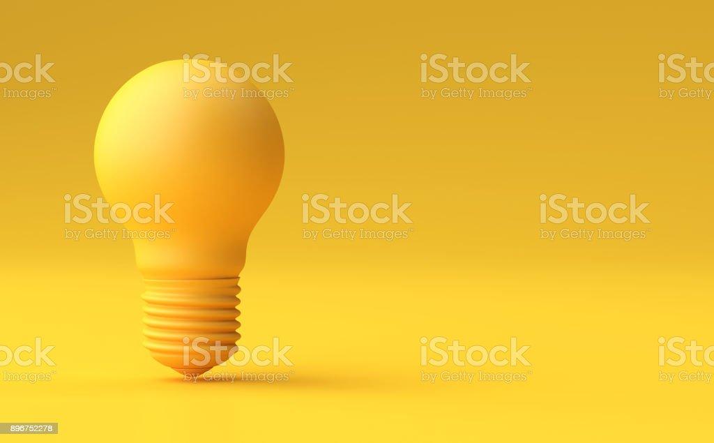 Mínima ideia Design conceito amarelo bulbo em fundo amarelo pastel. - foto de acervo