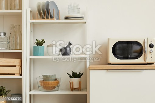665910118 istock photo Minimal Kitchen with Wooden Details 1220430770