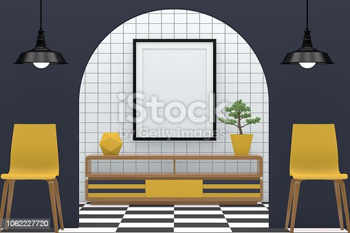 610958498 istock photo Minimal living room with blank frame 1062227720