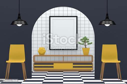610958498 istock photo Minimal living room with blank frame 1062227858