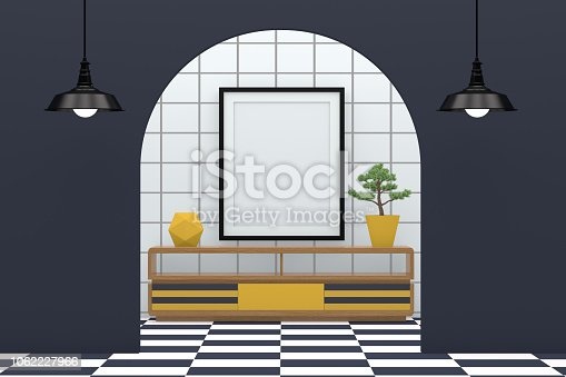 610958498 istock photo Minimal living room with blank frame 1062227966