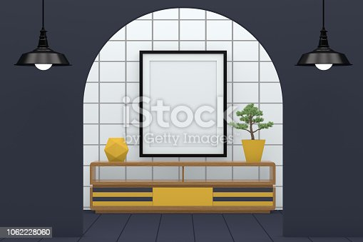 610958498 istock photo Minimal living room with blank frame 1062228060