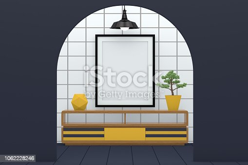 610958498 istock photo Minimal living room with blank frame 1062228246