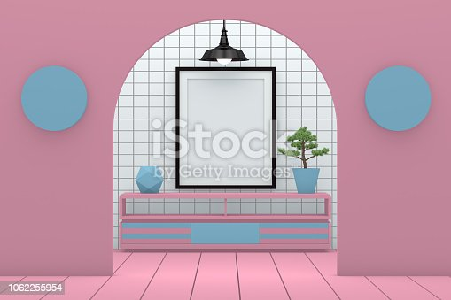 610958498 istock photo Minimal living room with blank frame 1062255954