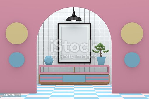 610958498 istock photo Minimal living room with blank frame 1062256148
