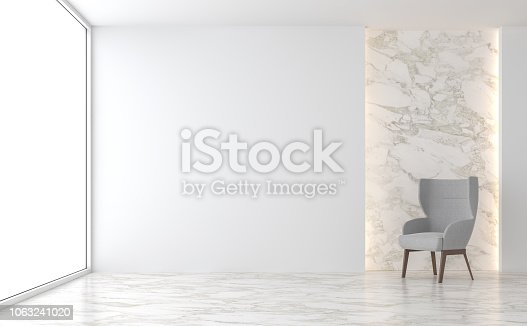 istock Minimal living room with marble wall 3d render 1063241020